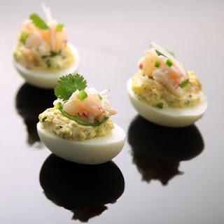 Deviled Eggs With Shrimp, Jalapeño, and Radish.
