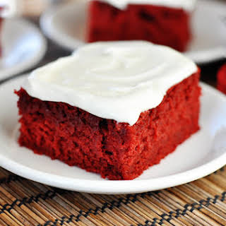 Red Velvet Sheet Cake with Cream Cheese Frosting.