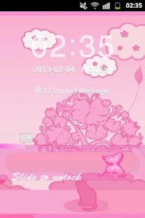 GO Locker Theme Pink Cat - screenshot thumbnail