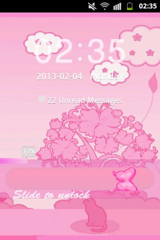 GO Locker Theme Pink Cat - screenshot