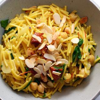 Spaghetti with Chorizo and Almonds.
