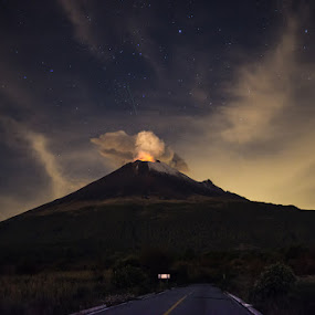 Popocatepetl, Stars and Road by Alfredo Garciaferro Macchia - Landscapes Mountains & Hills ( popo, stars, mexico, popocatepetl )