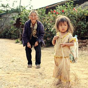 Time by Nguyen Kien - People Street & Candids ( laos, street, children, old women, rural )