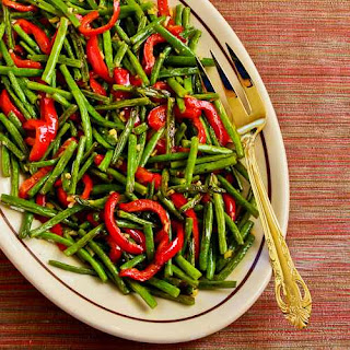 Roasted Green Beans and Red Bell Pepper with Garlic and Ginger.