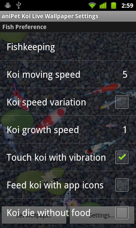 aniPet Koi Live Wallpaper- screenshot