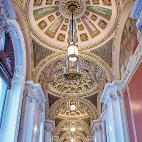 Hallowed Halls by Deborah Felmey - Buildings & Architecture Public & Historical ( arches, architectural, historical, hallway, library of congress, , Architecture, Ceilings, Ceiling, Buildings, Building )