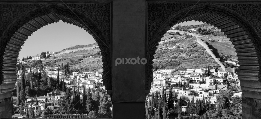 The eyes of the Alhambra, the Albaicin looking - Los ojos de la Alhambra, mirando el Albaicin by Jesús Municio - Black & White Landscapes ( arabian nights, fortress, black and white, landscape. albaicin, palace, world heritage, garyfonglandscapes, holiday photo contest, photocontest,  )