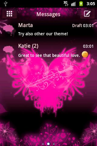 GO SMS Pro Theme Pink Heart
