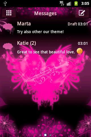 GO SMS ProのテーマピンクハートをGO SMS Pr