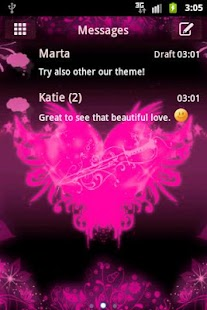 GO SMS Pro Theme Pink Heart - screenshot thumbnail