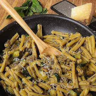EGGPLANT PESTO CASERECCE with mint and zucchini chuncks