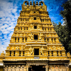 """""""I know God won't give me anything I can't handle. I just wish he didn't trust me so much.""""  by Manoj Swaminathan - Buildings & Architecture Places of Worship ( temple, god, peaceful, india, yellow, worship,  )"""