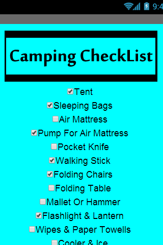 Camping Checklist FREE