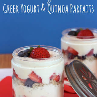 Banana Berry Cheesecake Greek Yogurt & Quinoa Parfaits.