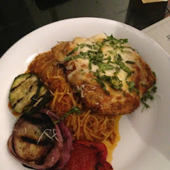 Chicken Parmesan with pasta & veggies.   Yum