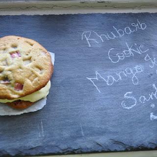 Mango Ice cream and Rhubarb cookie Sandwich.