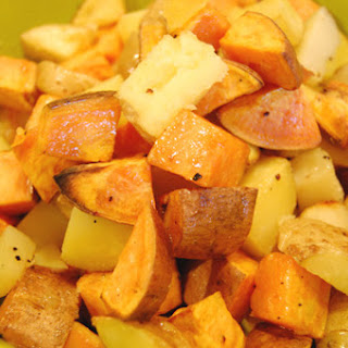 Roasted Sweet and White Potatoes.