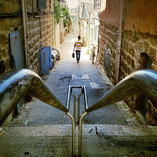 steep-walkway-Jerusalem - A steep walkway in Jerusalem.