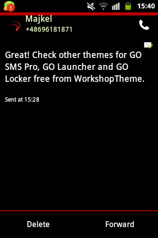 GO SMS Theme Red Neon - screenshot