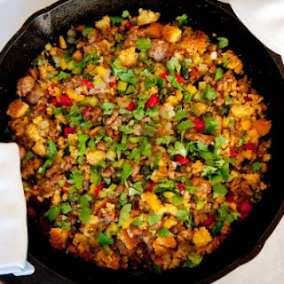 Three-Pepper Sausage Cornbread Dressing.