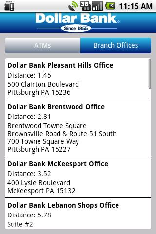 Dollar Bank App- screenshot