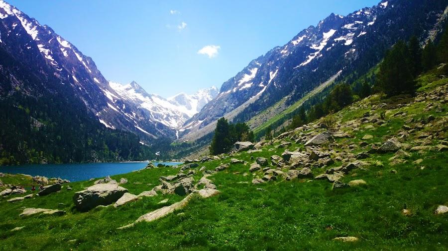 Gaube Lake by Alexandra Rafaila - Landscapes Mountains & Hills ( pyreenes, sky, mountain, nature, grass, blue, snow, france, lake, landscape, spring, sun,  )