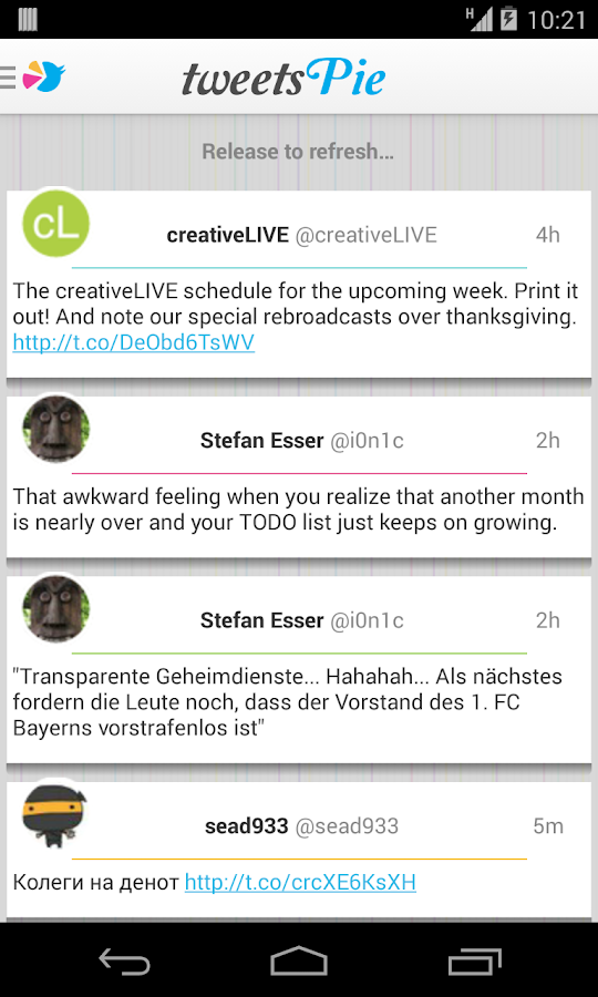 TweetsPie - screenshot