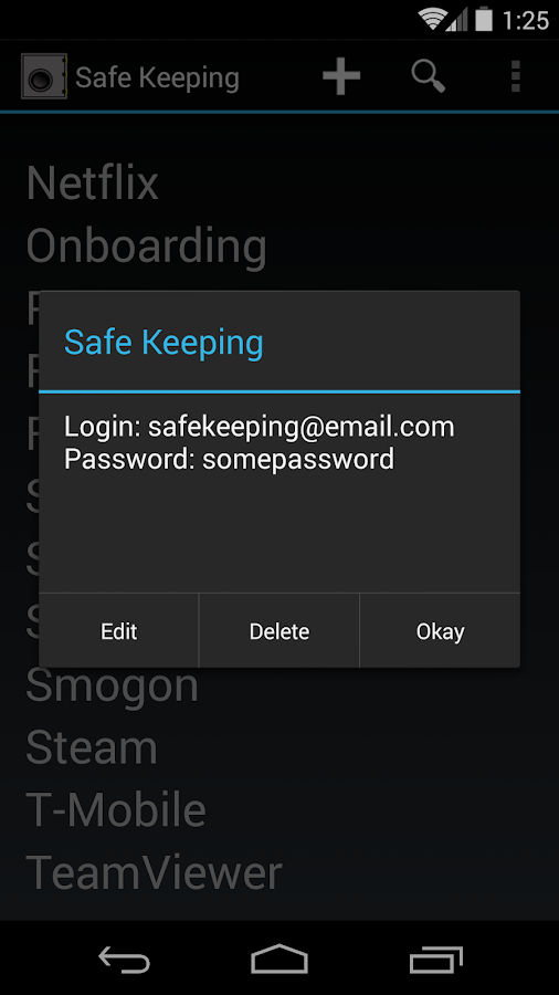 SafeKeeping - Free- screenshot
