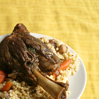Lamb Shanks with Pomegranate and Chickpeas.