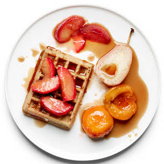 Poached Fruit over Waffles.