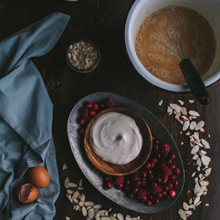 Baked Pumpkin, Cranberry, & Raspberry Oatmeal With Vanilla Creme Fraiche + A Giveaway