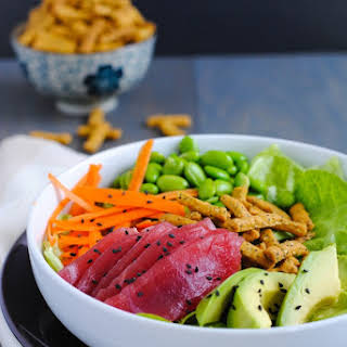 Ahi Tuna Salad with Miso-Wasabi Dressing.