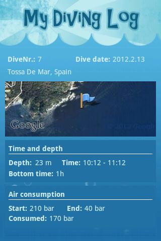 My Diving log- screenshot