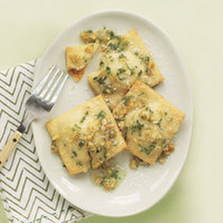 "Sweet Cheese ""Ravioli"" with Mint Sauce"