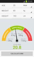 Screenshot of BMI Weight Calculator