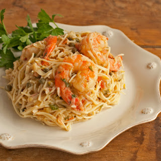 Shrimp Capellini with Gorgonzola-Garlic Butter Sauce.