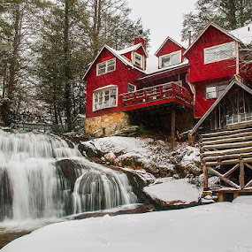 Cathedral Falls by Charles Hardin - Buildings & Architecture Homes ( cathedral falls, western north carolina, waterfalls of western north carolina, waterfalls, winter, north carolina waterfalls, charles k. hardin photography, waterfalls of wnc, snow, landscape, north carolina )