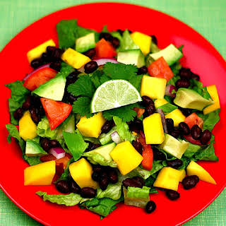 Black Bean, Avocado, and Mango Salad with Cilantro and Lime.