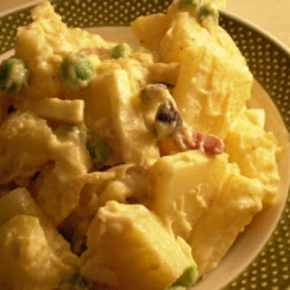 Potato Salad With Bacon, Peas And Olives