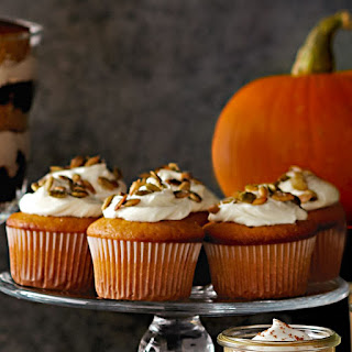 Pumpkin Cupcakes with Candied Pumpkin Seeds