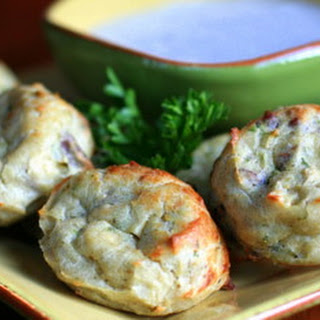 Chicken Pecan Bites with Blue Cheese Dip.