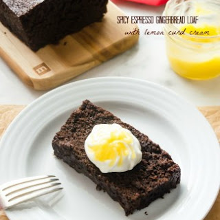 Spicy Espresso Gingerbread Loaf with Lemon Curd Cream