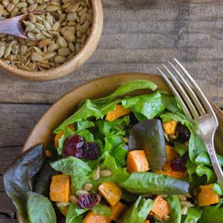Roasted Sweet Potato Salad With Kraft Balsamic Vinaigrette.