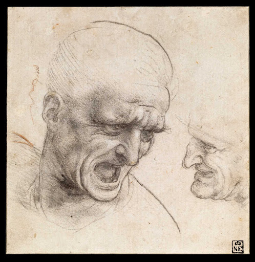 Study of Two Warriors' Heads for the Battle of Anghiari