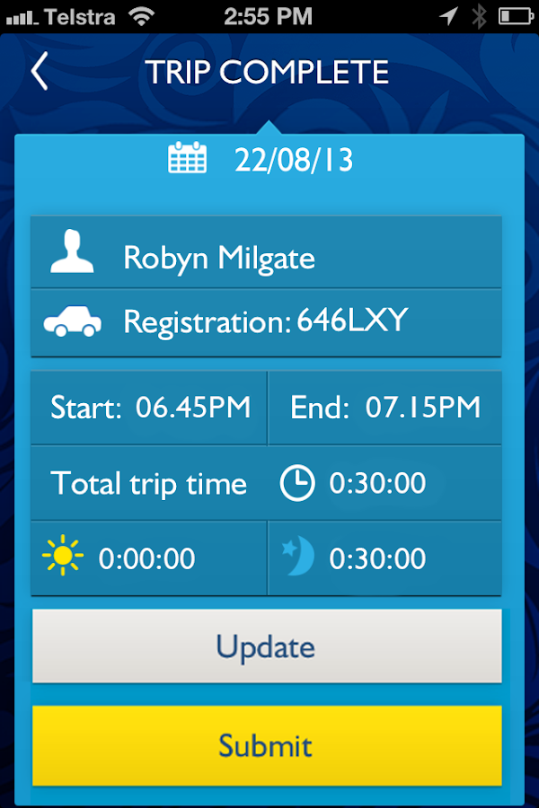 RACQ Learn2go Learner Logbook- screenshot