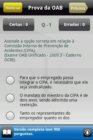 Prova da OAB Lite - screenshot