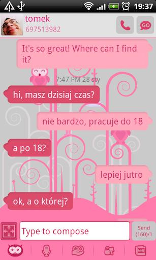 GO SMS Pro Pink Owl Theme
