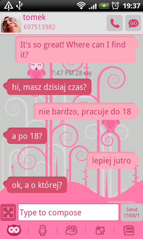 GO SMS Pro Pink Owl Theme - screenshot