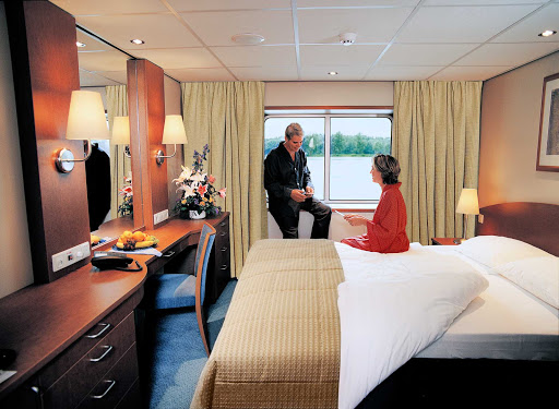 Viking-River-Cruises-Europe-Deluxe-Cabin-1 - Relax in a Deluxe Cabin aboard your Viking Longship river cruise and wake up each day with a new European destination awaiting.