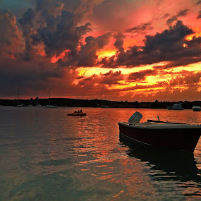 by Marica Popovic - Landscapes Cloud Formations ( sunset-  boat )